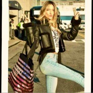 Victoria's Secret Metallic Stripes Tote Bag NIP